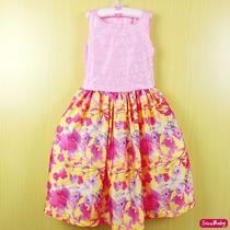 Vestido Infantil Festa Rosa Blusa Paetê E Saia Floral