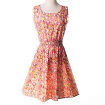 Vestido Primavera Verão Florido Leve Pronta Entrega P
