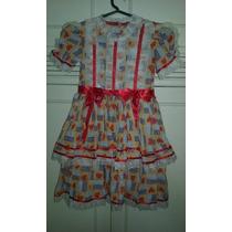 Vestido Caipira Infantil. 6 A 8 Anos. Festa Junina