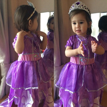 Promoção Vestido Fantasia Princesa Sofia Luxo Pronta Entrega