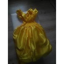 Vestido Princesa Bela E A Fera Pronta Entrega + Acessórios