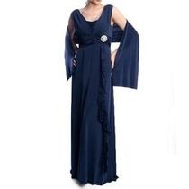 Vestido Longo Cor Azul Marinho - Manequins 44 A 48