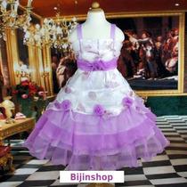 Vestido Infantil Aniversario/festa/casamento C/lilas Ou Azul