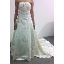 Vestido De Noiva Perola Cetim Importado Todo Bordado