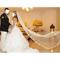 Vestido De Noiva Testeira Luvas E Colar(vest. Longo E Curto)