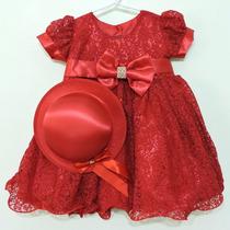 Vestido Bebê Com Renda E Chapéu Para Festa E Casamento