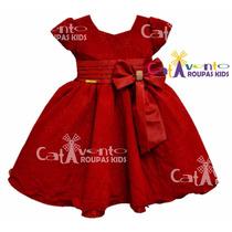 Vestido De Festa Infantil Vermelho Com Renda De Luxo E Tiara