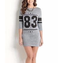 Vestido Cinza Esportivo Estampa Number Curto Mangas 3/4