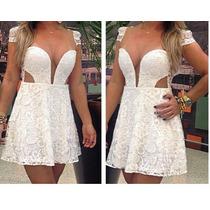Vestido Rodado Renda Tule Curto Romantico Varias Cores