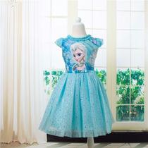 Vestido Fantasia Infantil Filme Frozen Elsa Anna Tutu 2015