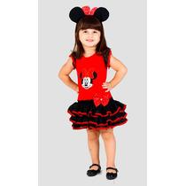 Vestido De Festa Minnie Vermelha Pronta Entrega