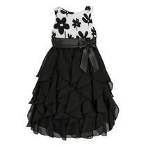 Vestido Infantil Importado Preto E Branco Com Saia Em Chifon