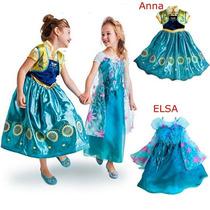 Vestido Fantasia Elsa Anna Frozen Mod. Novo Pronta Entrega