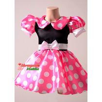 Vestido Minnie Luxo Rosa - Corpo Preto
