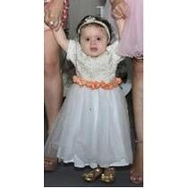 Vestido Infantil Com Tule Pérolas Cinto Em Flores Festa