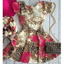 Vestido Estampado Boneca Bonequinha Princesa Rodado