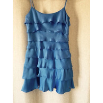 Vestido Social Farm De Seda Azul Com Camadas Sobrepostas