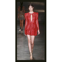 Vestido Vermelho Curto Renda 3d - Estilista Patrícia Bonaldi