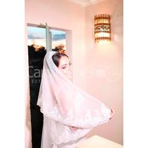 Lindo Vestido De Noiva Bordado A Mão Único Uso Acompanha Véu