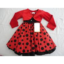 Vestido Infantil Festa Minnie Baby 1 Ano Brinde Bolero