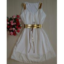 Vestido Feminino Curto Princesa Cintura Marcada Com Cinto