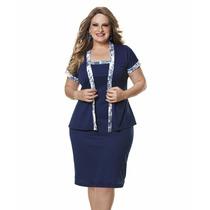 Vestido + Casaco Casual Moda Plus Size Gg Eg Xg Helanc