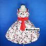 Vestido Infantil Festa Princesa/florista Florido Vermelho 8