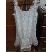 Vestido De Renda Branco Babado De Organza Lindo!