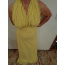 Vestido De Festa Longete De Voal Amarelo Echarpe De Cetim P