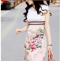 Vestido Estilo Oriental Floral, Vintage-pronta Entrega