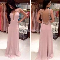 Vestido Importado Longo Rosa Decote Em Tule