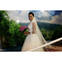 Vestido De Noiva Importado + Mantilha(véu) + Saiote