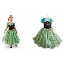 Fantasia Vestido Anna Frozen Luxo Pronta Entrega