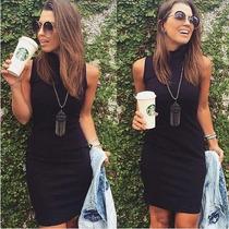 Vestido Midi Gola Alta Role Moda Blogueira Atacado Feminino