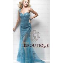Vestido Festa Madrinha Azul Tiffany Gripir Sereia Pronta E