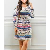 Lindo Vestido Inverno Indiano Peruano Estampa Etnica Top!