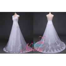 Vestido De Noiva Elegante Costas Abertas Pronta Entrega