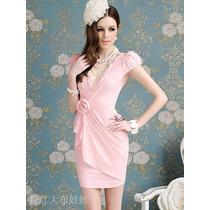 Vestido Moda Barbie Rosa Bb C/ Flor *** Pronto Entrega***