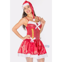 Roupa Da Mamãe Noel Fantasia Luxo Vestido + Gorro + Saquinho