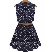 Vestido Feminino Casual Importado Estampa Cinto Frete Grátis