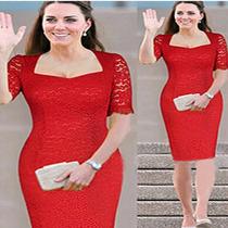 Cópia Do Vestido Vermelho Renda Da Princesa Kate Middleton