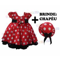 Vestido Infantil Minnie Vermelho Modelo Luxo : Brinde Chapéu
