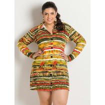 Vestido Chemise Estampa Étnica Plus Size
