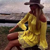 Vestido Ciganinho Em Viscolycra Com Renda Guipir
