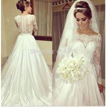 Vestido De Noiva Calda Longa Manga Comprida Maravilhoso 034