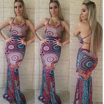 Vestido Longo Feminino Sereia Viscolycra Bojo Alça Mandala