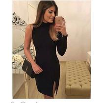 Vestido Luxo Gola Alta Fenda Casual Festa Blogueira Panicat
