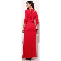 Vestido Longo Vermelho Viscose Com Stretch. Kabene Jeans