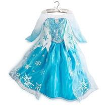 Fantasia Vestido Frozen Elsa Luxo 130cm 6-7anos