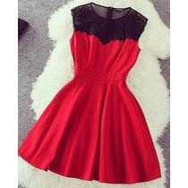 Vestido Saia Rodada Vermelho Importado-pronta Entrega